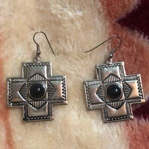 Navajo Like Stainless Steel Earrings